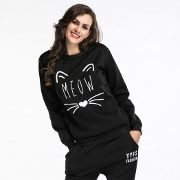 5529 hot sale round neck wool lining cat printing long sleeve T-shirt