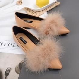 A1 ostrich fur pointed toe flattie