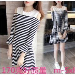 8534 off shoulder stripes fish tail dress