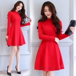 2622 autumn lace temperament high collar slim dress