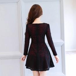 2621 autumn lace contract color dress
