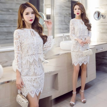 6013 elegant aristocratic slim wave hem lace tops with skirt