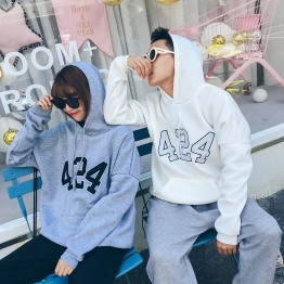 523 Korea ulzzang number 424 embroidery couple sweatshirt