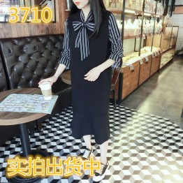 3710 stripes bowknot splicing lotus leaf loose fake two-piece dress