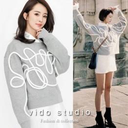 5080 bat sleeves stereoscopic lines loose sweatshirt