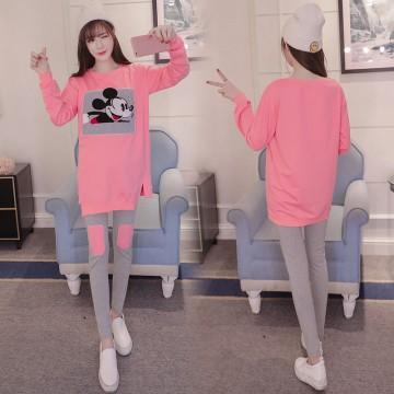8359 mickey print fashion maternity long shirt with pants