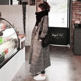 1161 Korean fashion cocoon-type houndstooth woolen coat