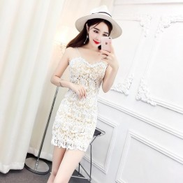 8007 lace hand-linked flowers sexy sling dress