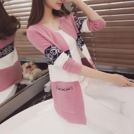 8771 pocket national style long sleeve sweater cardigan