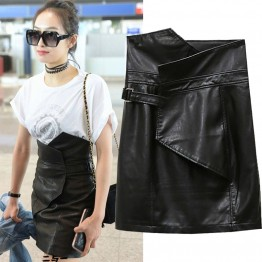 652 high waist PU leather tight hip skirt