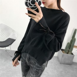 899 solid color lacing long sleeve round neck shirt