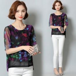 711 short sleeve digital printing chiffon shirt