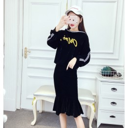 9100 letters hooded sweater with fish tail skirt