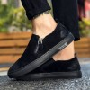 9875 scrub leather side zipper wear-resistant flat leather casual sports men's shoes