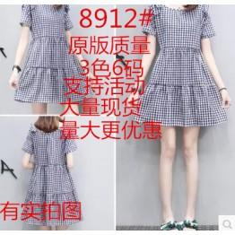 8912 plaid bowknot shoulder A-line dress