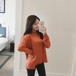 8851 high collar loose long sleeve sweater