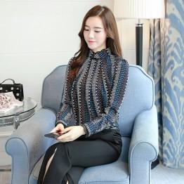 2087 stand collar lace splicing chiffon shirt