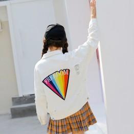 825 loose rainbow print hole embroidery denim jacket