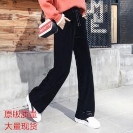 1836 Gold velvet wide leg pants