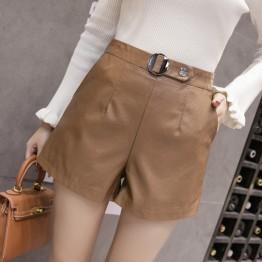 1073 iron ring washing PU leather high waist wide leg shorts