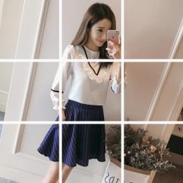 761 Korean fashion lotus leaf chiffon shirt with stripes skirt