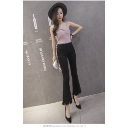 8631 micro-speaker tassel high waist pants