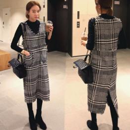 6610 elegant houndstooth sleeveless V-neck strap woolen dress