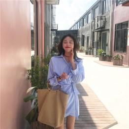 162 Fashion College style slim waist shirt dress