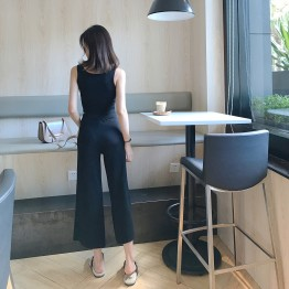 0151 Korean retro style Slim short letter vest with high waist casual pants