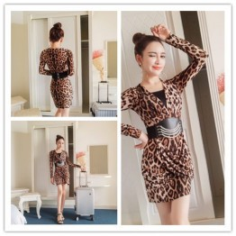 3219 leopard autumn long sleeves slim dress (with belt)