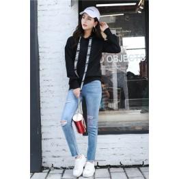 6607 women's large size loose wool lining sweatshirt