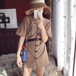 7075 Korean chic girl waist line dress with belt