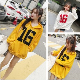 C1355 autumn number 16 printing hooded sweatshirt