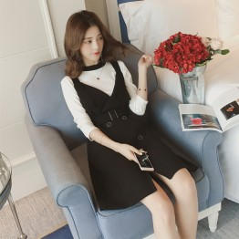6826 fashion aristocratic tops with vest dress