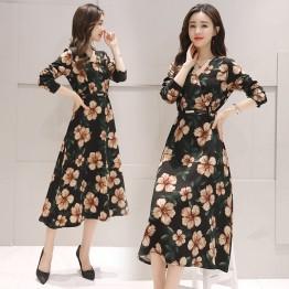 0921 long sleeve slim high waist V neck temperament long dress
