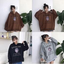 3185 Korean printing hooded loose sweatshirt