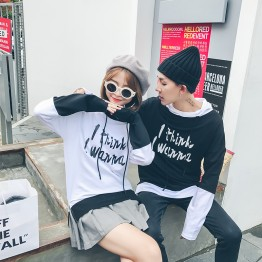6623 couple hooded black and white splicing letters printing sweatshirt