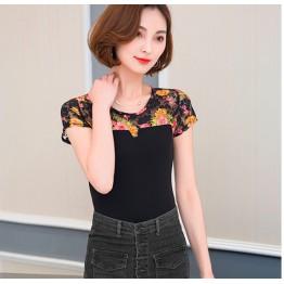 710 net yarn round neck slim printing T-shirt