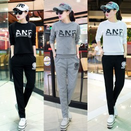 8092 round neck letters print sweatshirt with leisure sports pants