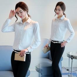 2029 new white long sleeve lace chiffon shirt