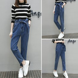 6396 large size women loose lacing waist slim feet jeans