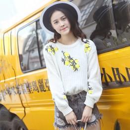 2815 embroidery lemon high waist short lantern sleeves sweater