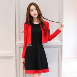 2615 long sleeve little coat with color matching sleeveless dress