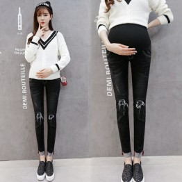 122 Pregnant women cotton denim pants