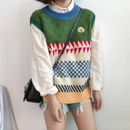 265 retro loose color matching sweater vest