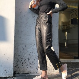 3968 high quality leisure PU leather pants