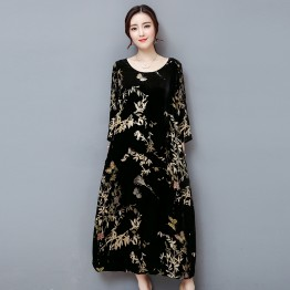 1309 black gold velvet mulberry silk blended retro printing dress