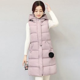 1655 feathers hooded hair ball long down vest jacket