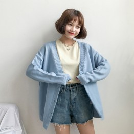1082 back big embroidery flowers sweater cardigan