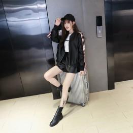 0632 leather round neck street style jacket
